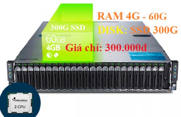VPS dung lượng ổ cứng lớn hơn 300G SSD RAM 4G giá chỉ 300k