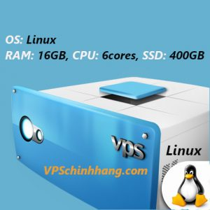 VPS Linux RAM 16GB, CPU 6cores, SSD 400GB