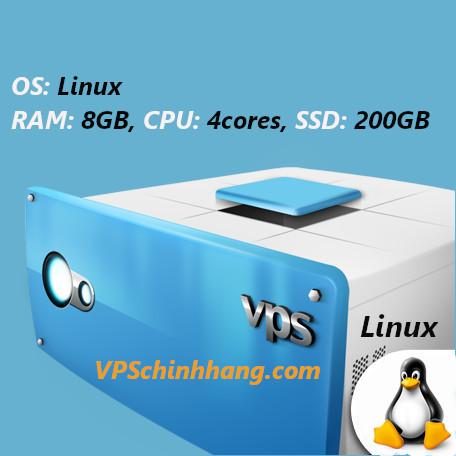 VPS Linux RAM 8GB, CPU 4cores, SSD 200GB