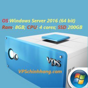VPS Windows cấu hình cao RAM 8GB SSD 200GB