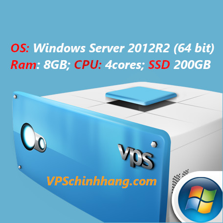 VPS windows server 2012R2 RAM 8GB, COU 4cores, SSD 200GB