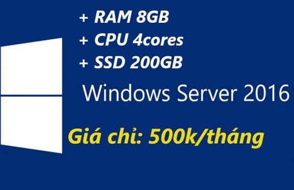 VPS Windows giá rẻ cấu hình cao RAM 8GB SSD 200GB phục vụ MMO