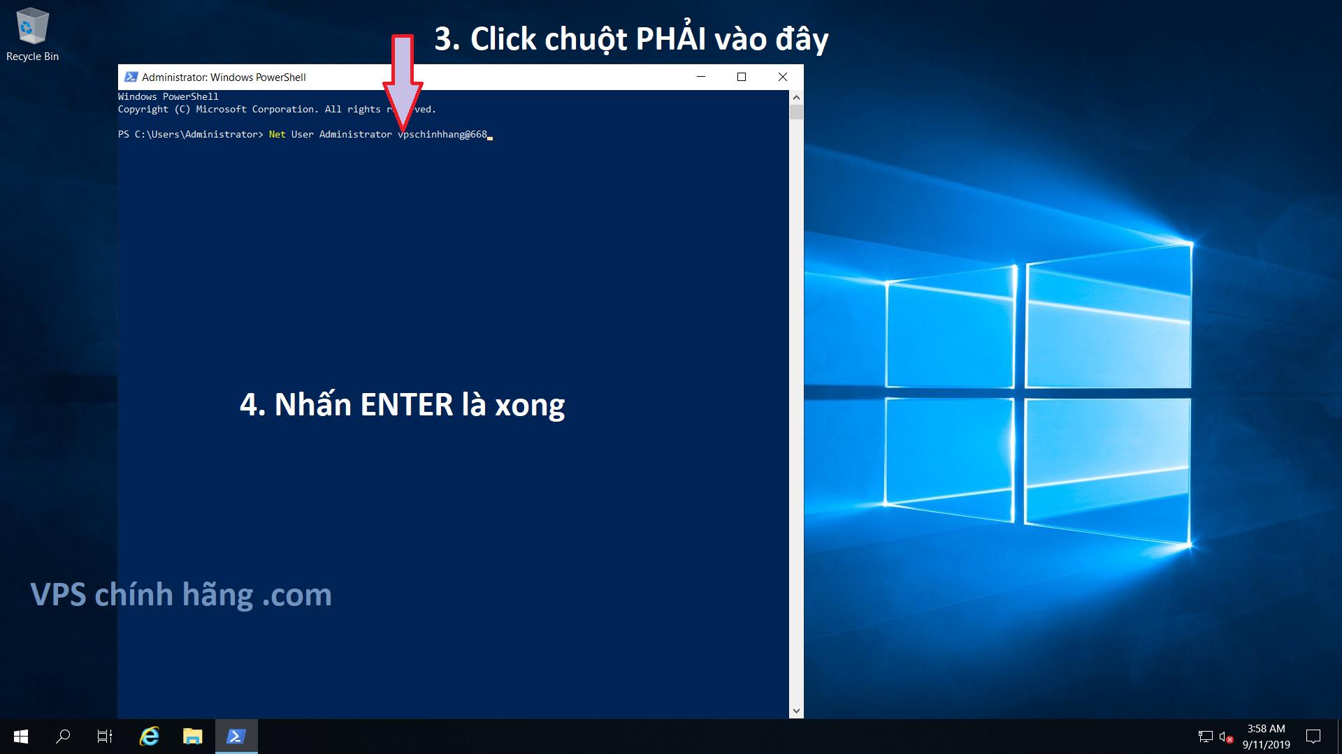 Cách đổi mật khẩu VPS, đổi Password VPS nhanh nhất bằng lệnh CMD