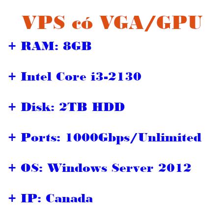 VPS có VGA/GPU IP Canada