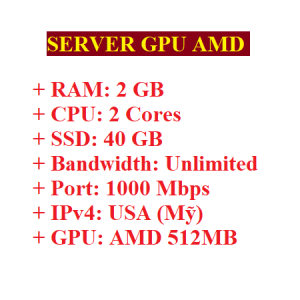 Server RAM 2GB có GPU AMD 512MB