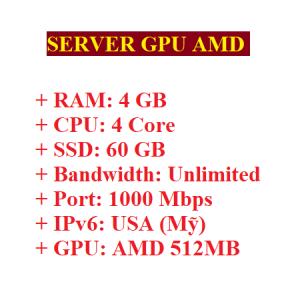 Server RAM 4GB có GPU AMD 512MB
