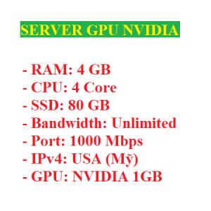 Server có GPU Nvidia 1GB