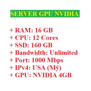 Server có GPU Nvidia 4GB