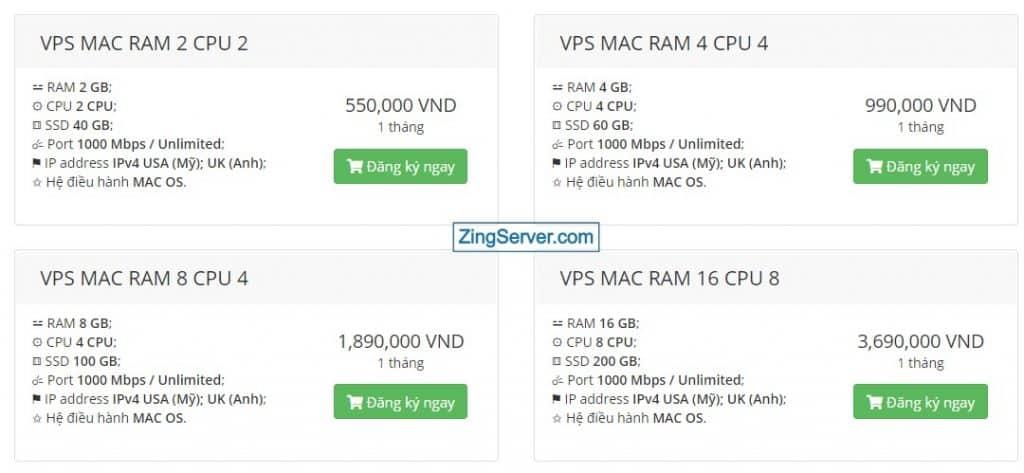 Bảng giá VPS MAC OS